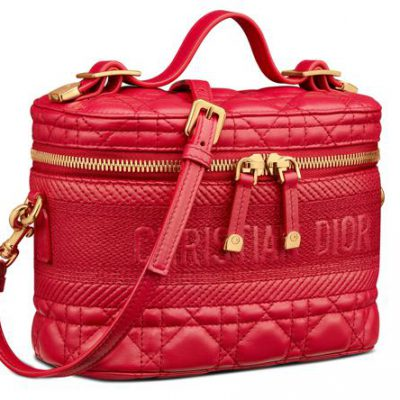 Poppy Red Cannage Lambskin Small DiorTravel Vanity Case COURTESY OF DIOR