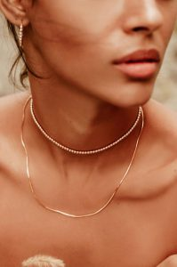 The lightweight Alexa Leigh Mini Snake Necklace is 18k gold filled and can be worn separately or ... [+] COURTESY OF ALEXA LEIGH